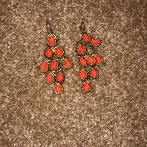 Urban outfitters coral & gold dangle earrings